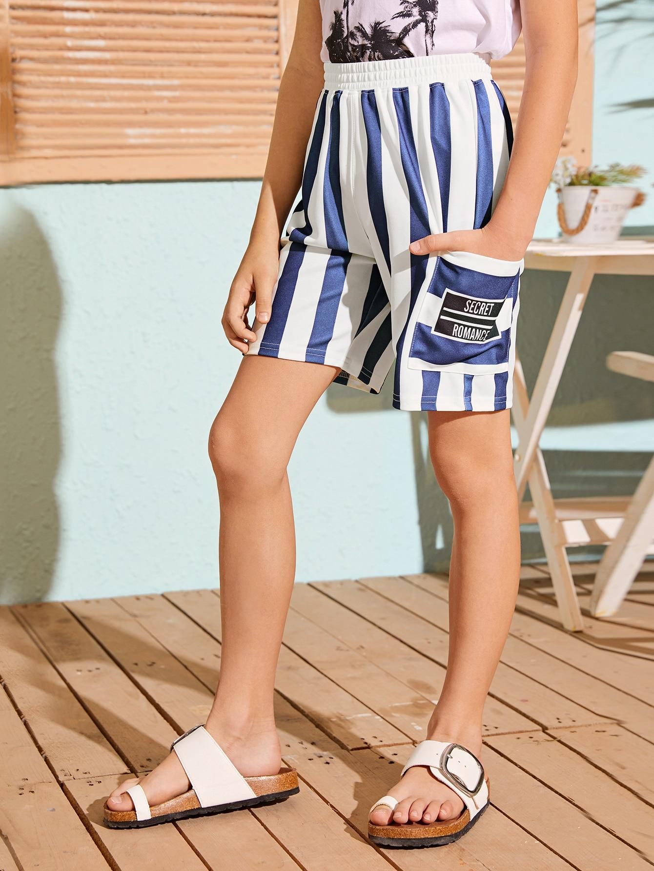 SHEIN Двухцветные шорты в полоску для мальчиковskshorts07200413816