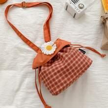 Tartan Floral Drawstring Bag