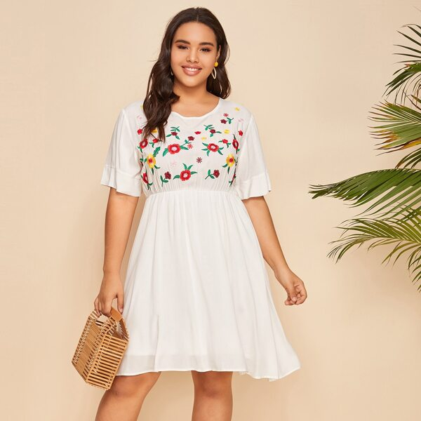Plus Floral Embroidered Dress, White