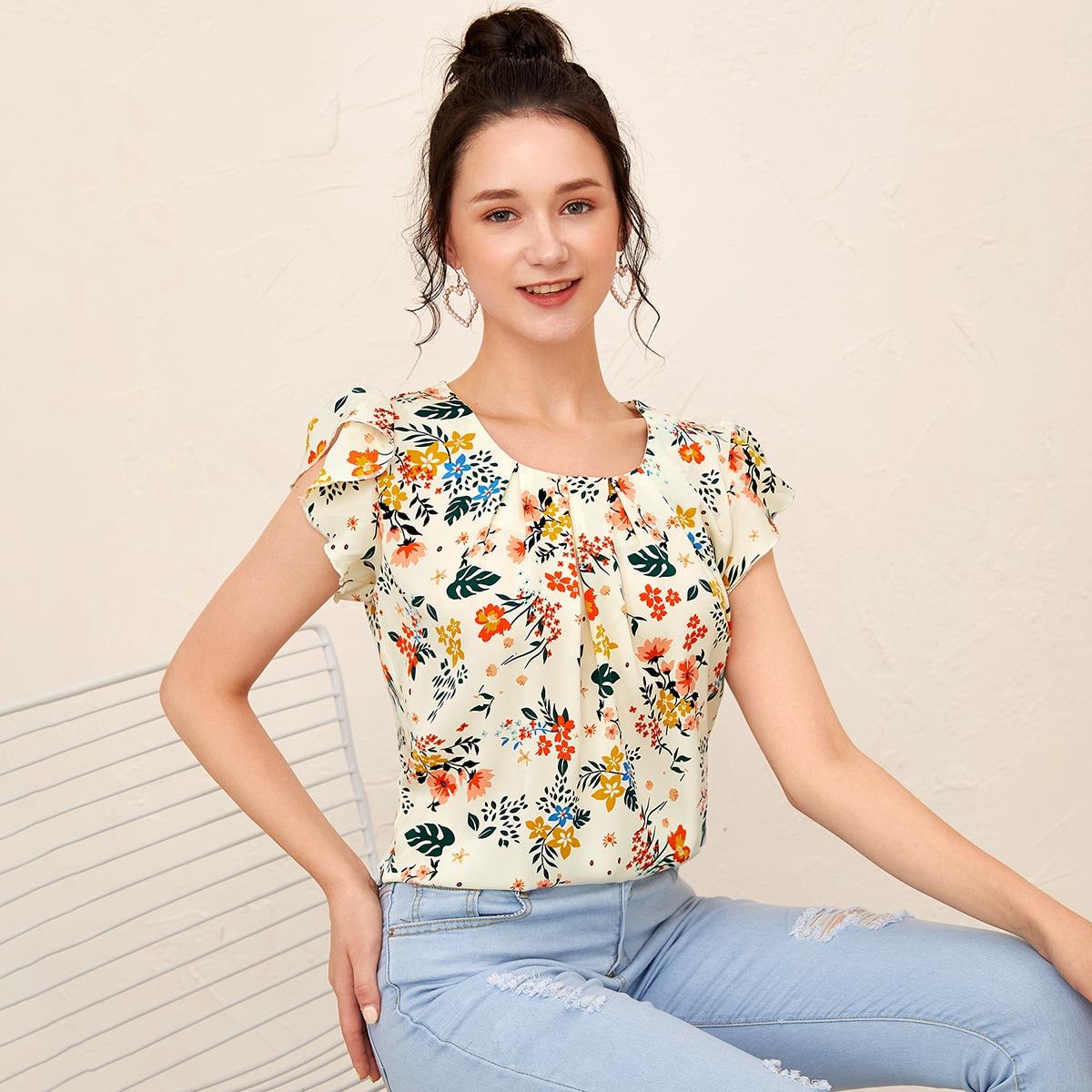 Блузка с цветочным принтом и рукавом бабочкой
