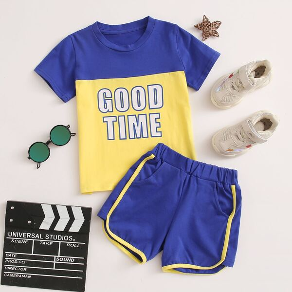 Toddler Boys Colorblock Letter Graphic Tee & Track Shorts, Multicolor