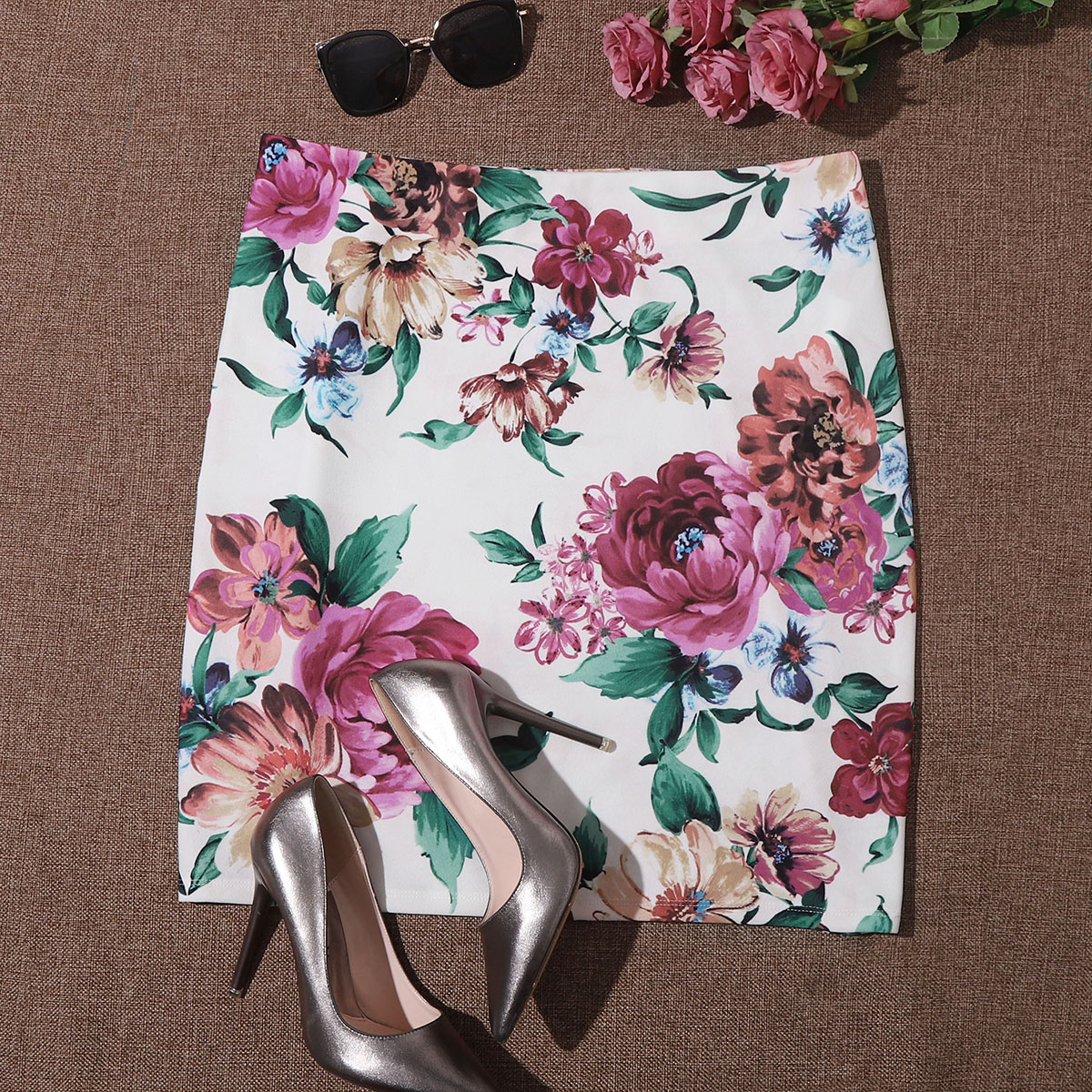 SHEIN Veel kleurig Elegant Bloemen Grote maat rok