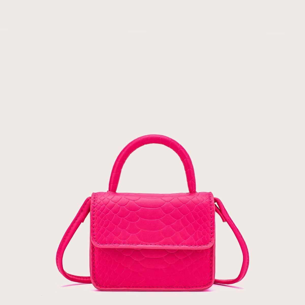 Мини неоновая ярко-розовая сумка-саквояж