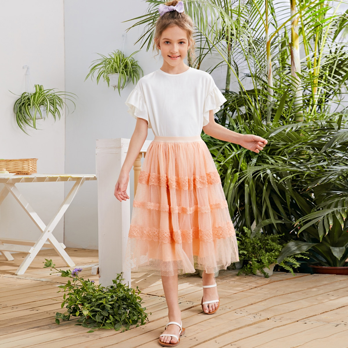 Сетчатая юбка с кружевной отделкой для девочек