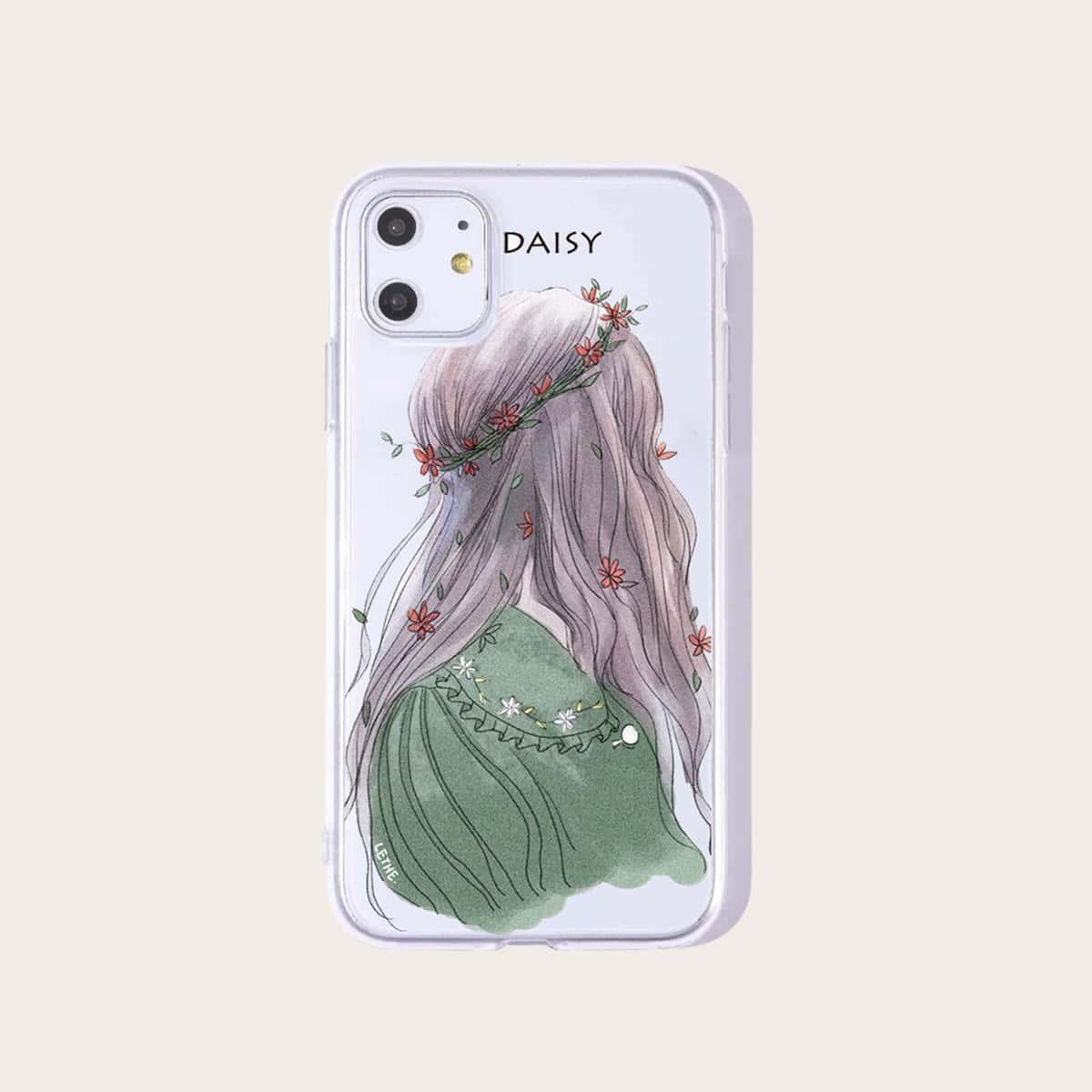 1 Stück Transparente iPhone Hülle mit Figur Muster