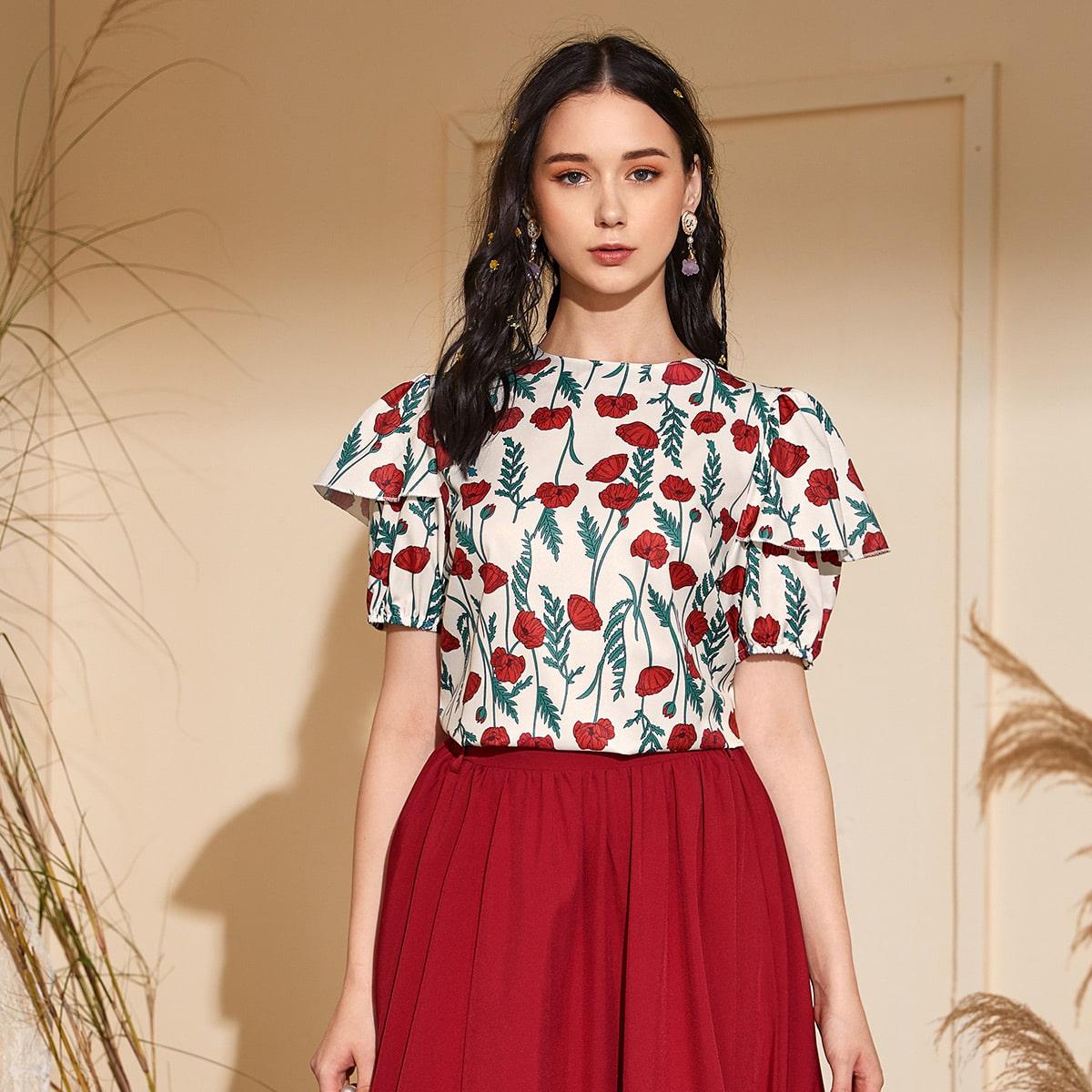 Цветочная блузка с оборками и застежкой сзади