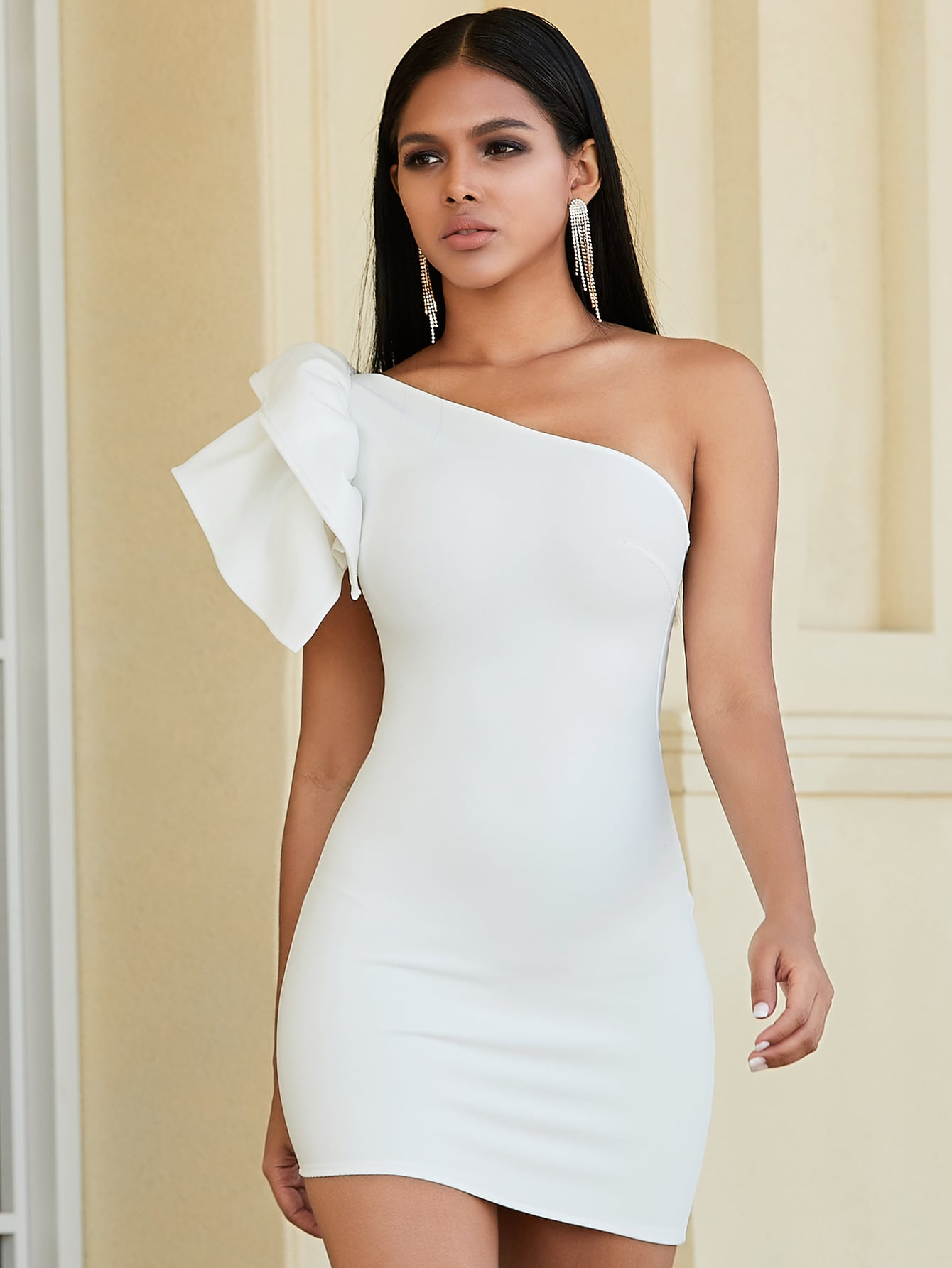 Exaggerated Ruffle One Shoulder Bodycon Dress thumbnail
