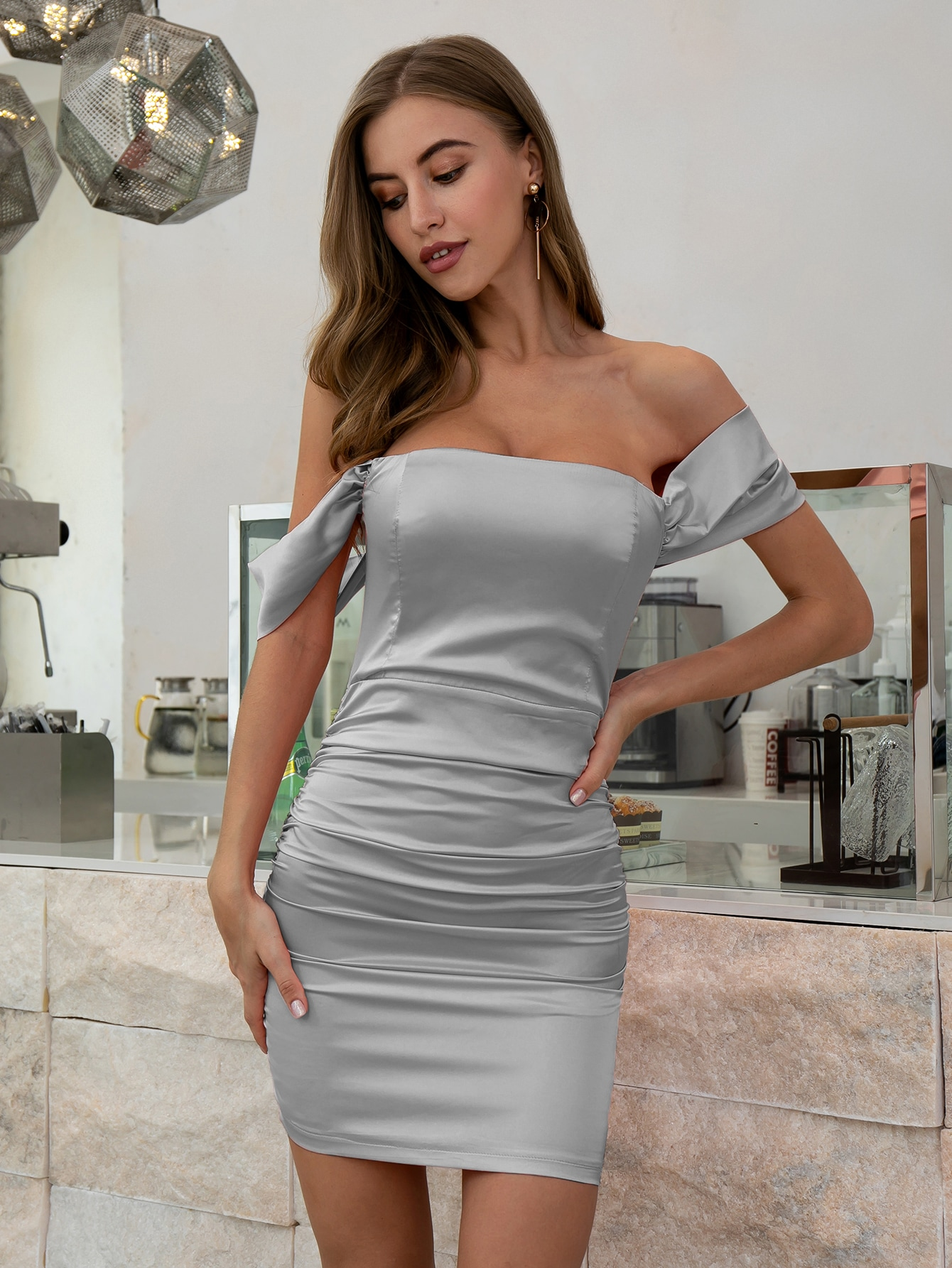 Off Shoulder Ruched Satin Dress thumbnail