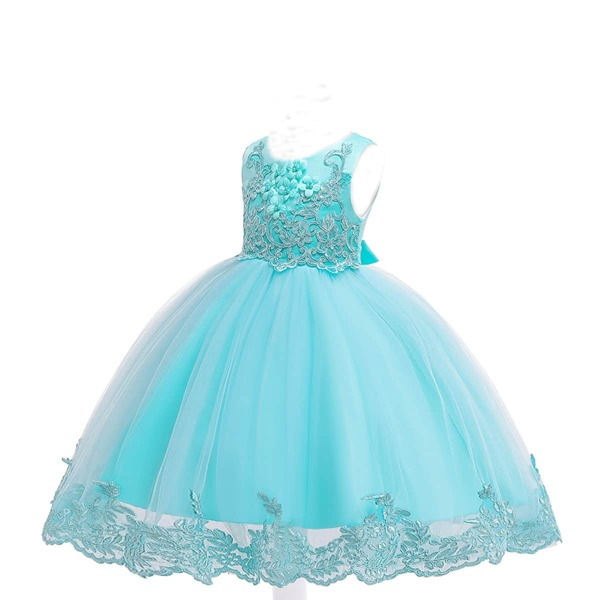 Girls Floral Appliques Embroidered Mesh Tutu Dress, Mint green