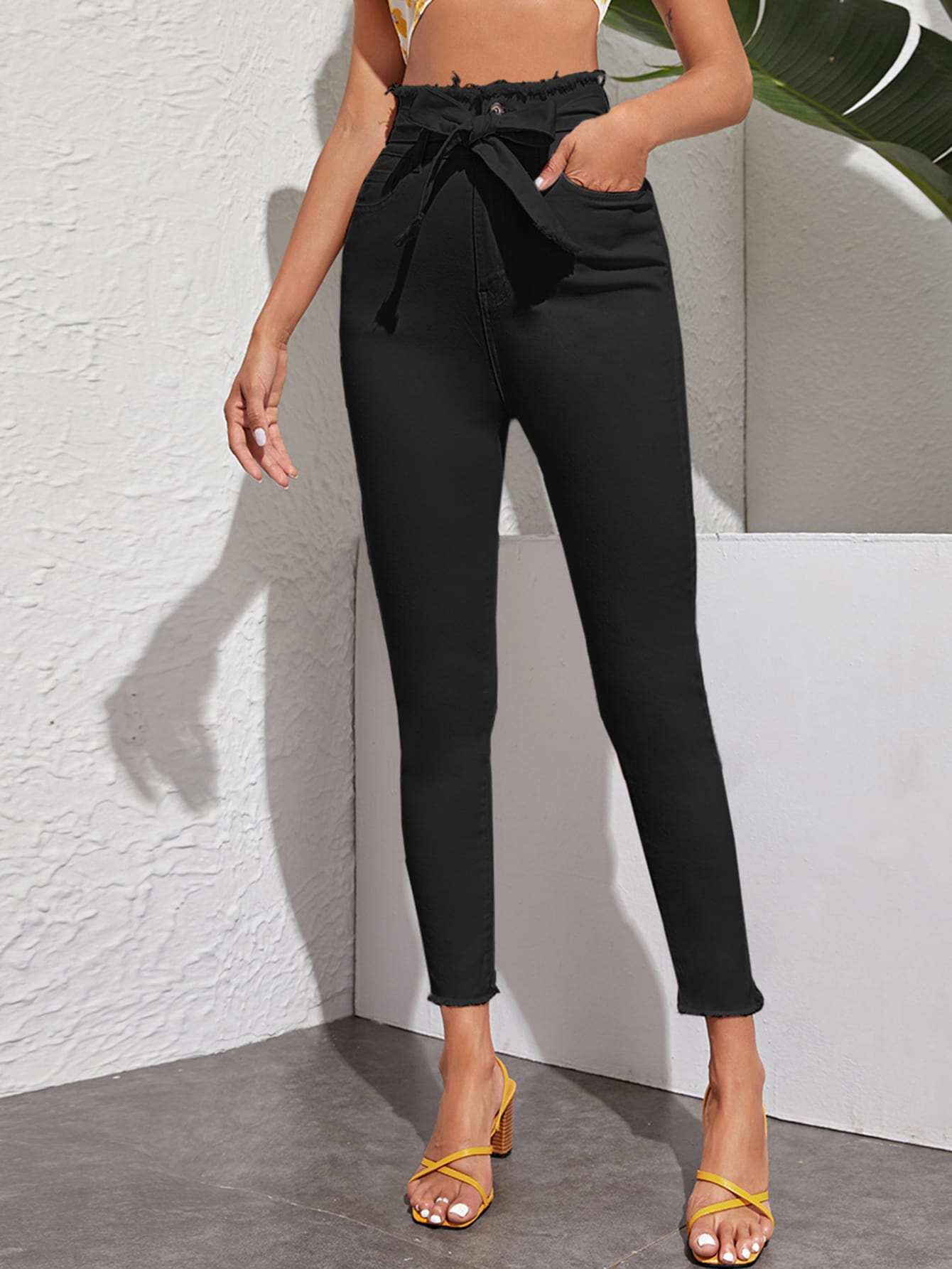 High-Rise High Stretch Raw Hem Skinny Jeans thumbnail