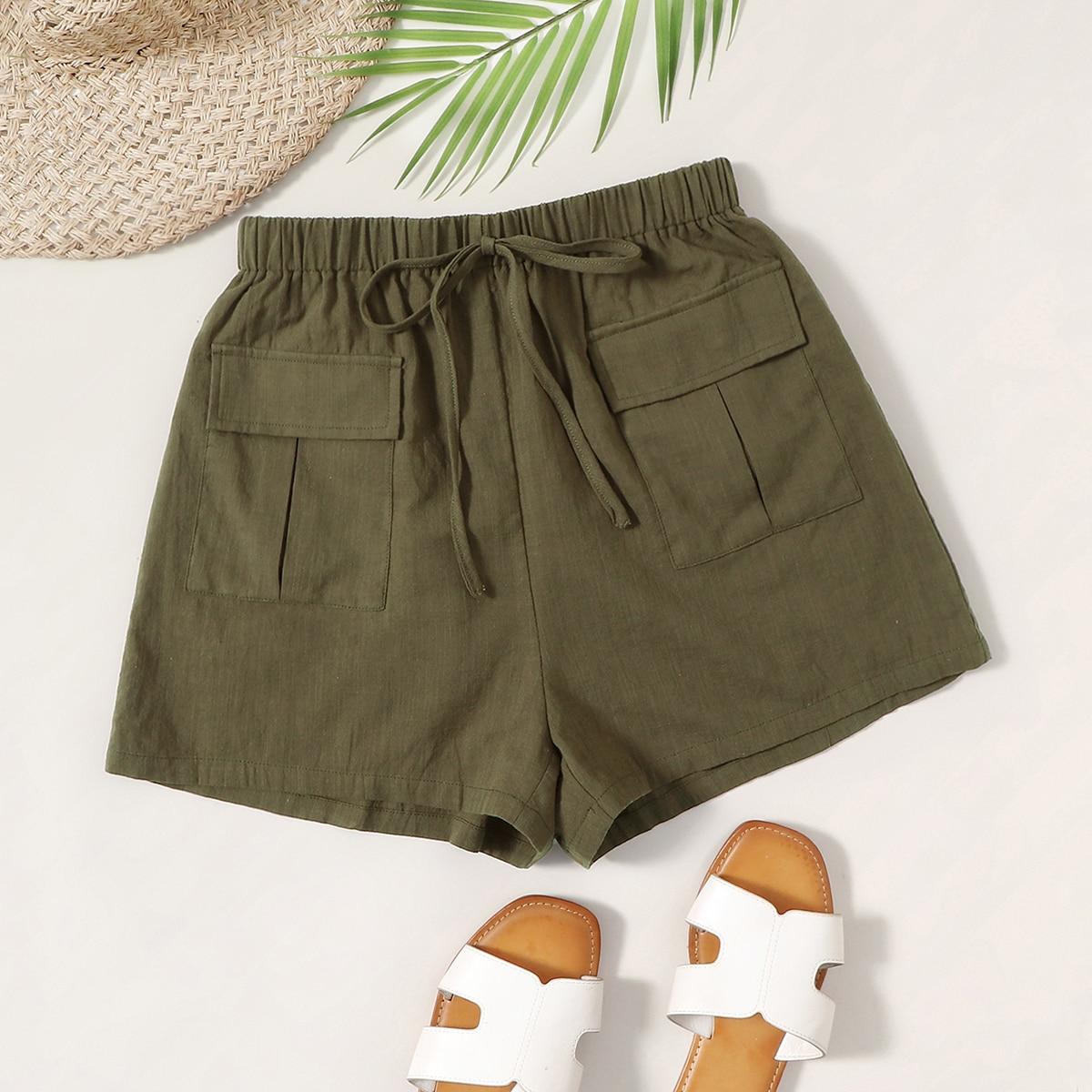 Shorts mit Knoten Taille, Taschen Klappe und Flicken