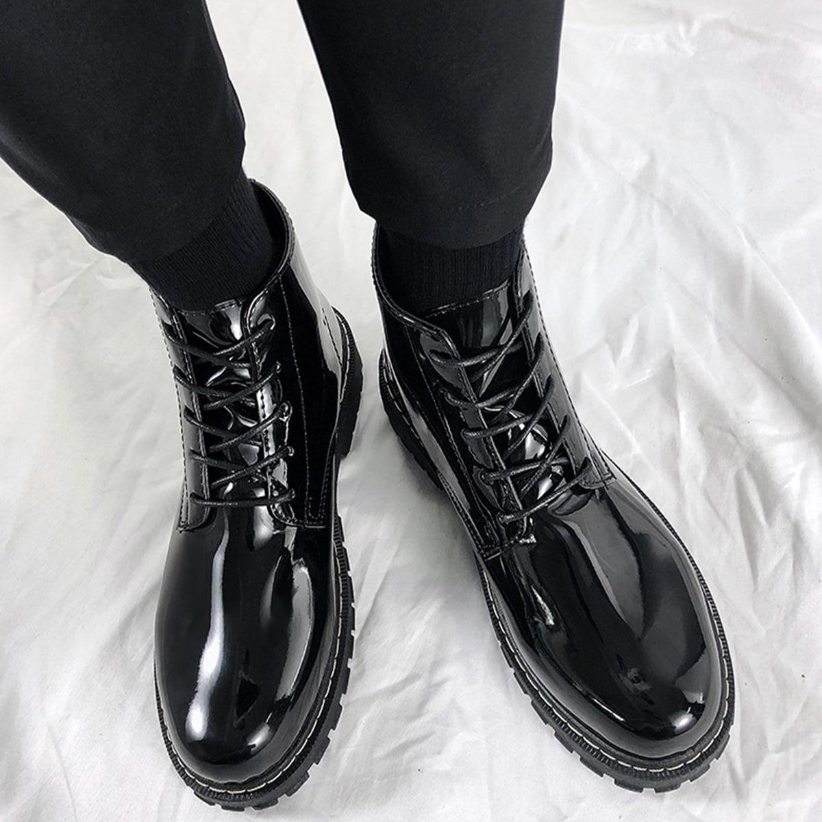 Мужские туфли на шнуровках с высокой пяткой