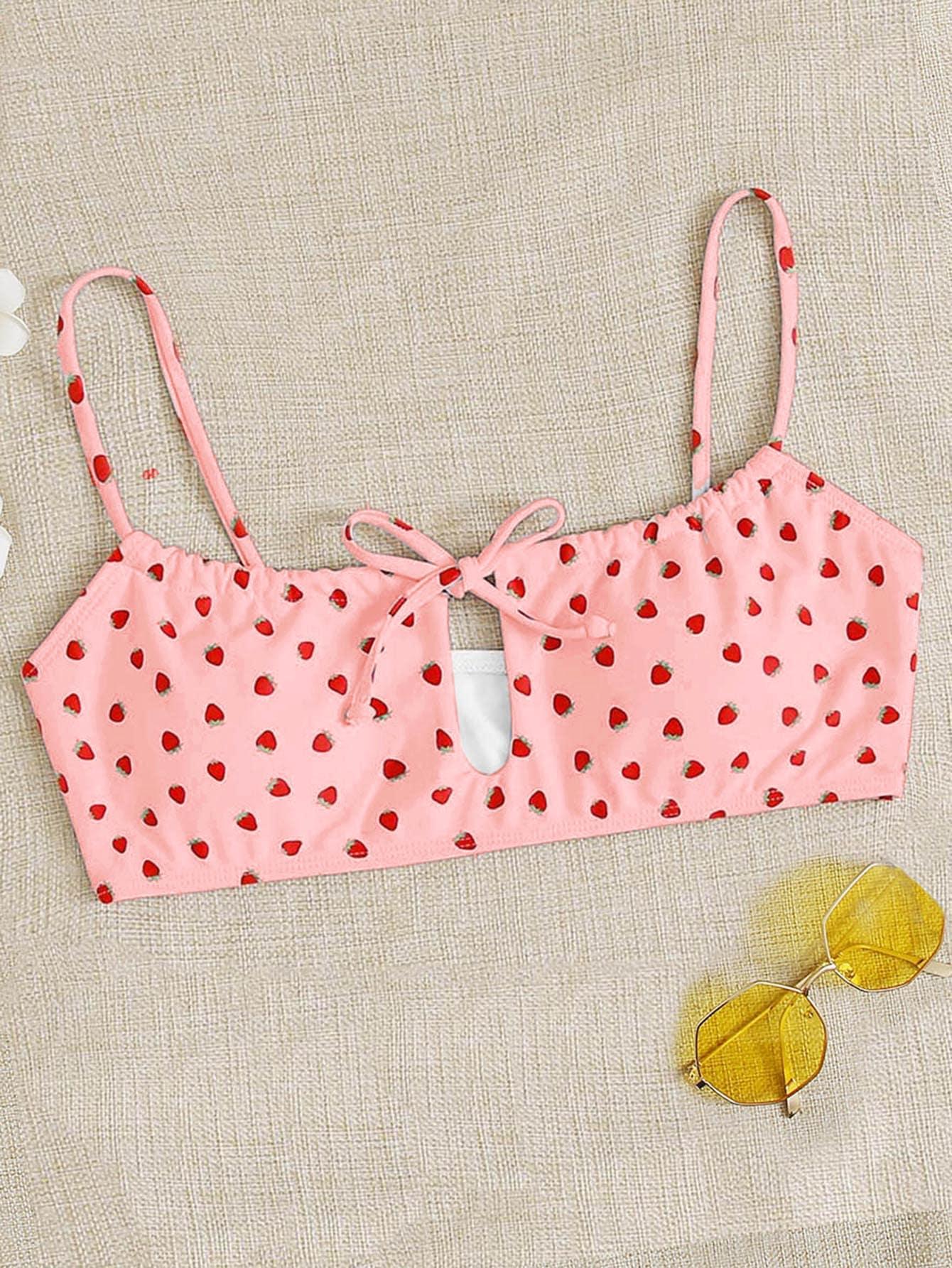 Strawberry Print Tie Front Bikini Top thumbnail