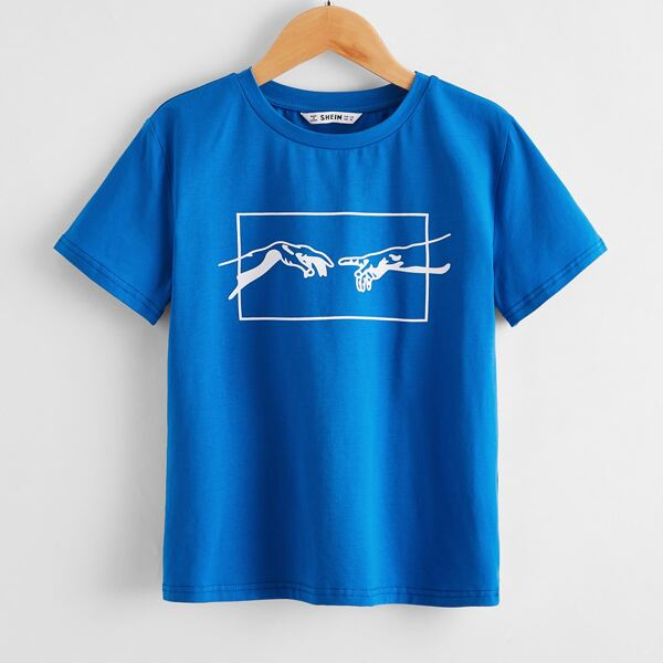Boys Figure Graphic Tee, Blue