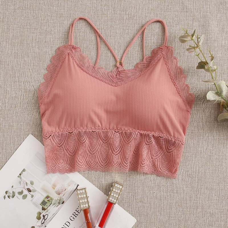 Floral Lace Bralette, Coral pink