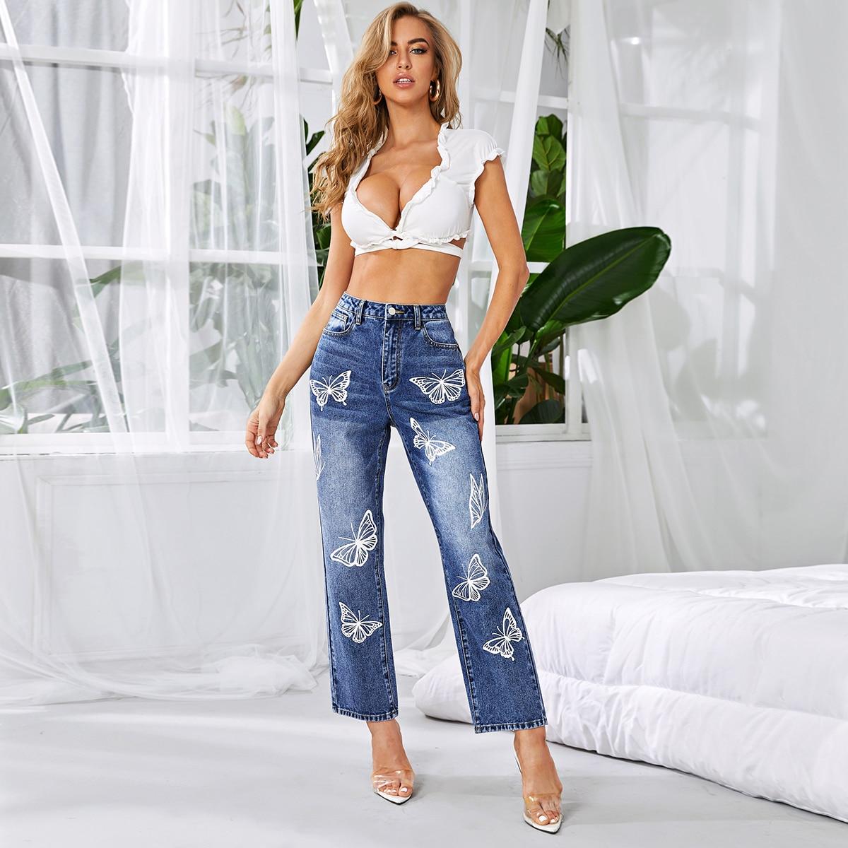 Прямые джинсы с принтос бабочки