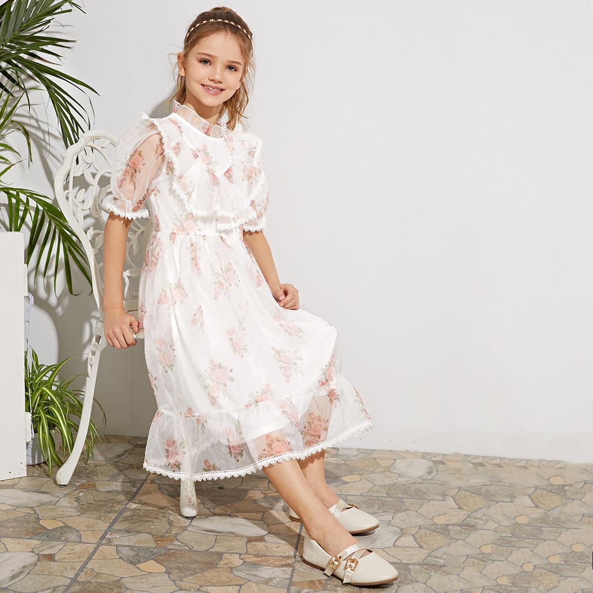 Цветочное платье из органзы с кружевной отделкой для девочек