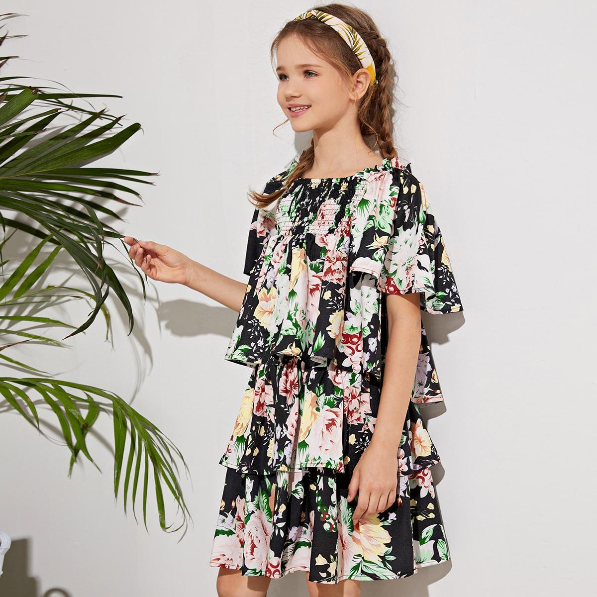 Цветочный топ и многослойная юбка для девочек