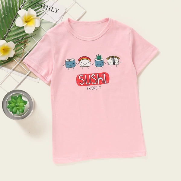 Toddler Girls Cartoon And Letter Graphic Tee, Baby pink
