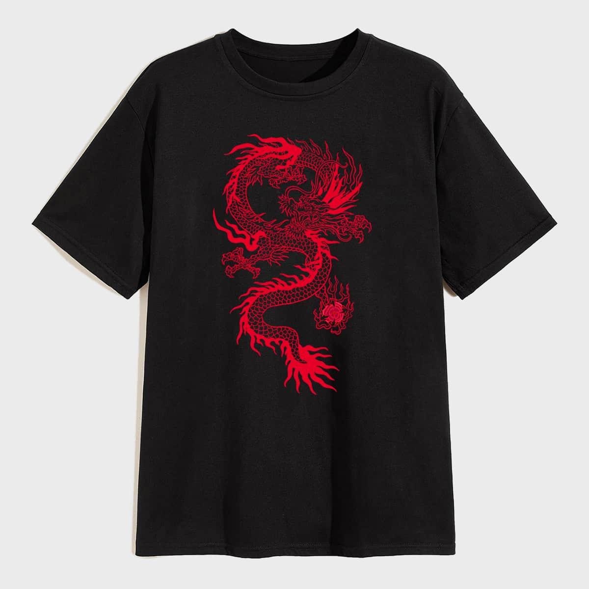 T-Shirt mit Drachen Muster und kurzen Ärmeln