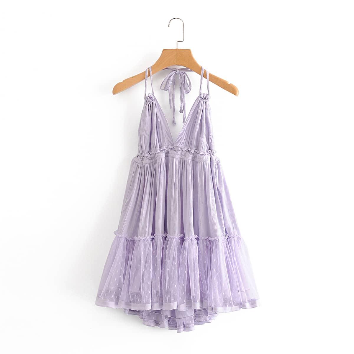 Платье-халтер с открытой спиной и сетчатой вставкой