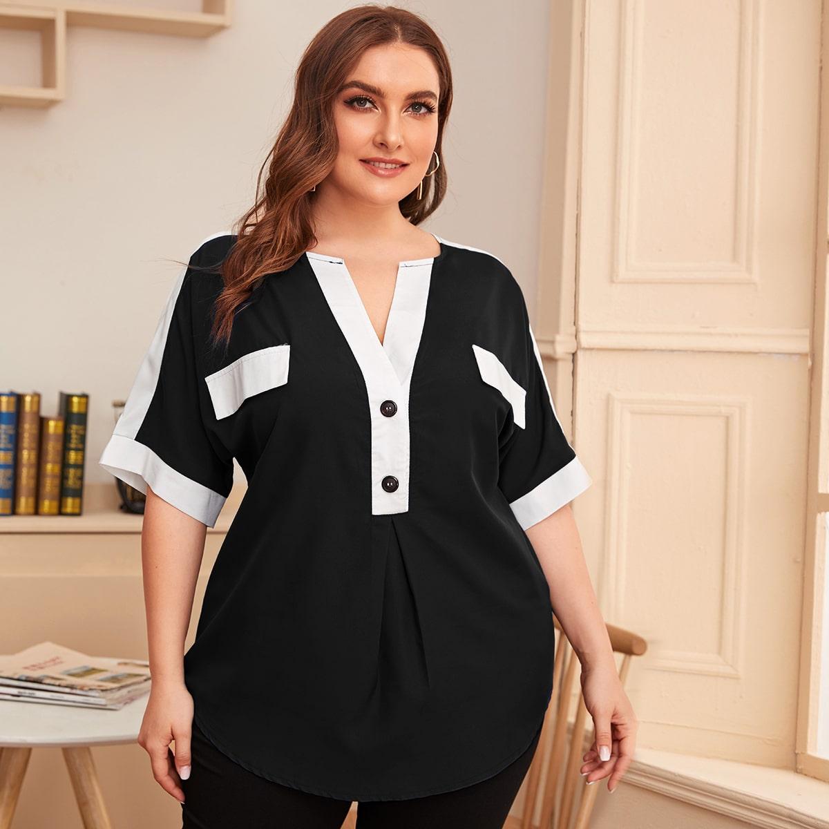 Контрастная блузка размера плюс с пуговицами