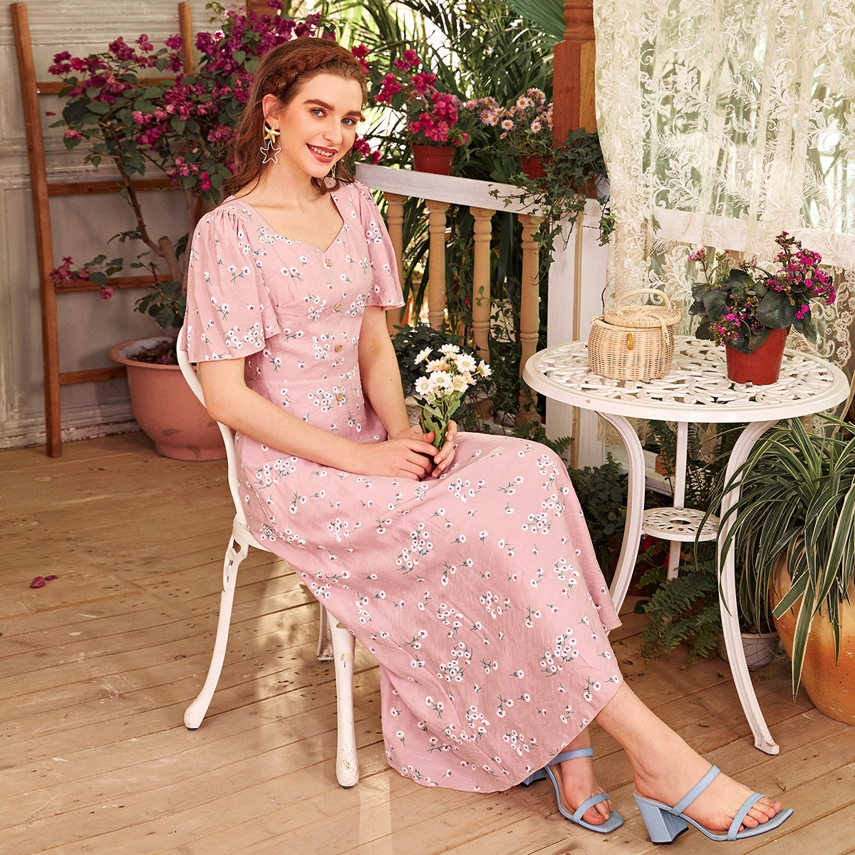 Floral Sweetheart Neck Flutter Sleeve A-Line Dress, SHEIN  - buy with discount