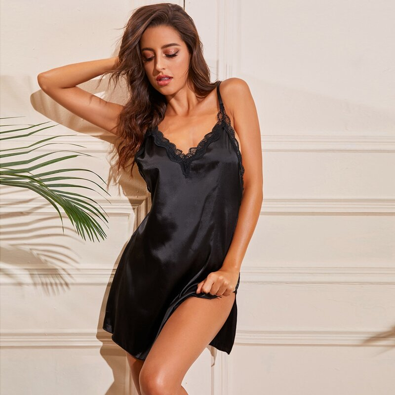 Contrast Lace Slit Hem Satin Cami Nightdress, Black