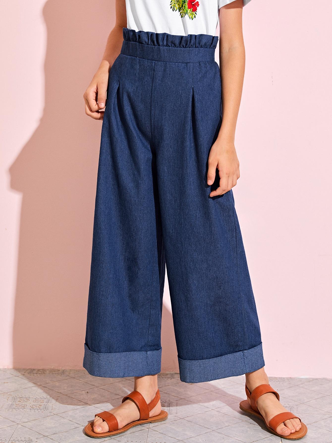 Girls Paperbag Waist Cuffed Wide Leg Pants