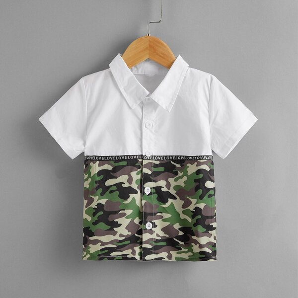 Toddler Boys Letter Tape Camo Print Shirt, Multicolor