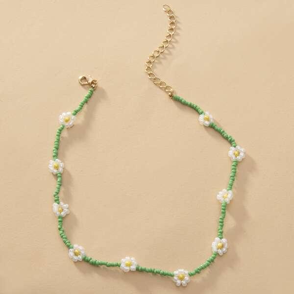 Flower Decor Beaded Necklace, Green