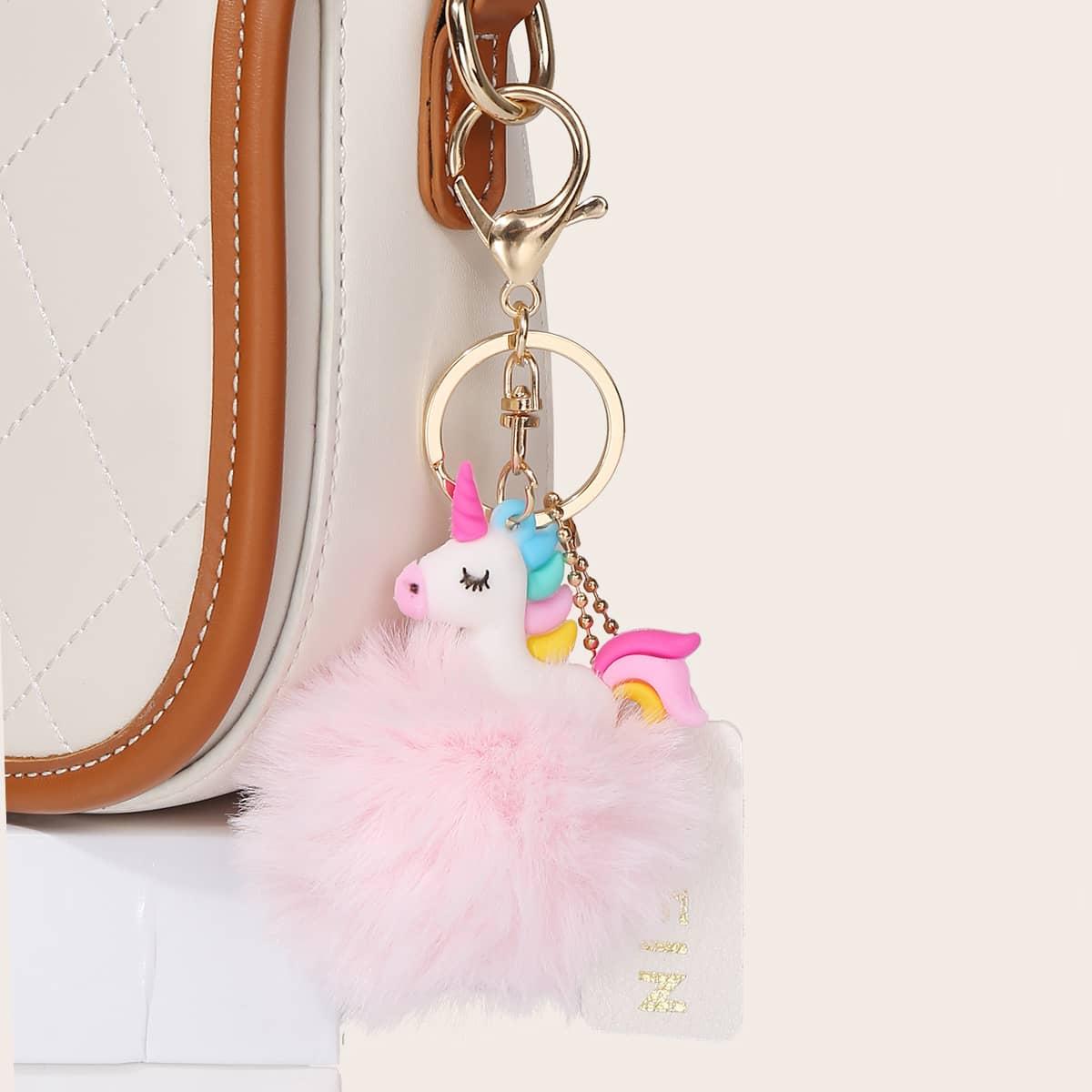 Pom-pom Decor Unicorn Shaped Bag Charm