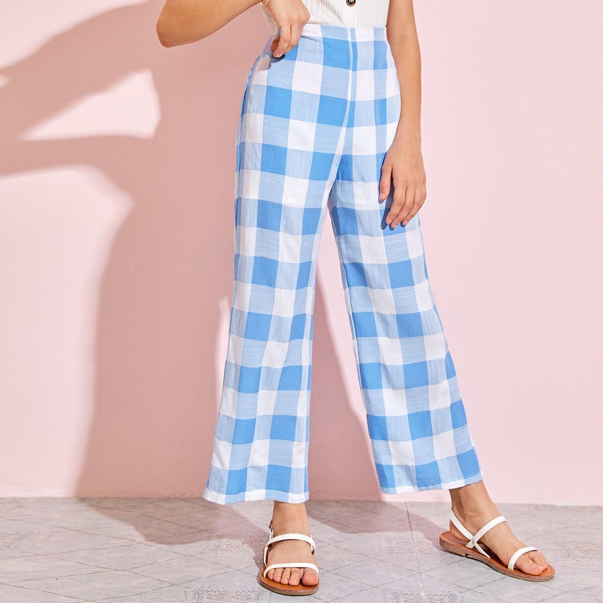 Широкие брюки в клетку для девочек