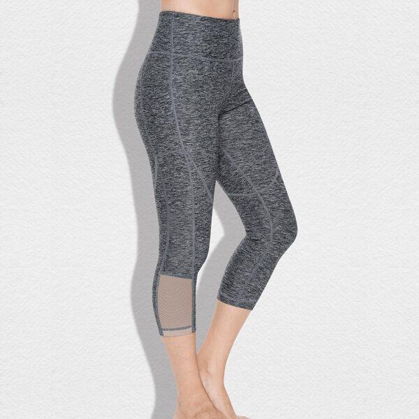 Marled Knit Mesh Insert Capris Sports Leggings With Phone Pocket, Grey