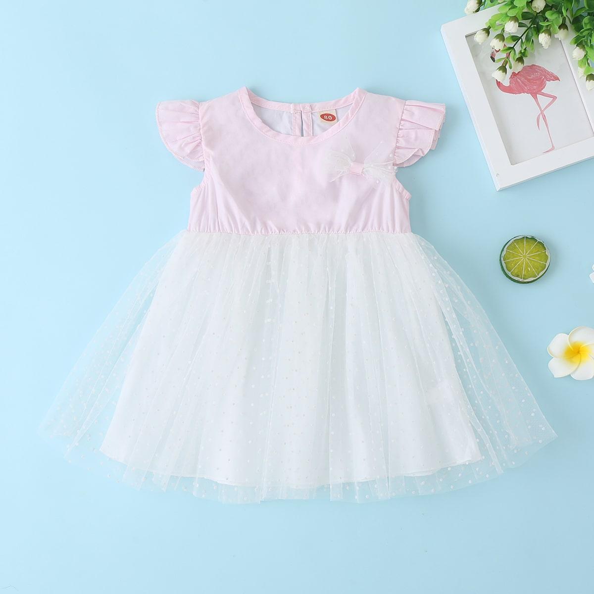 Платье с бантом и сетчатой вставкой для девочек от SHEIN