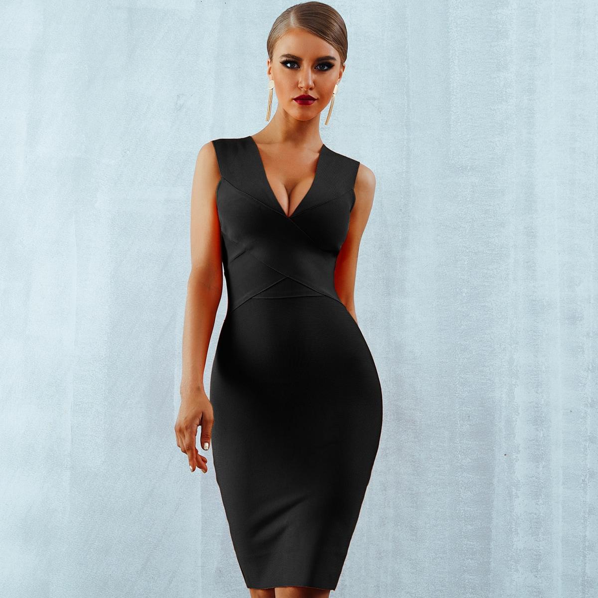 платье-карандаш с молнией сзади и v-образным вырезом