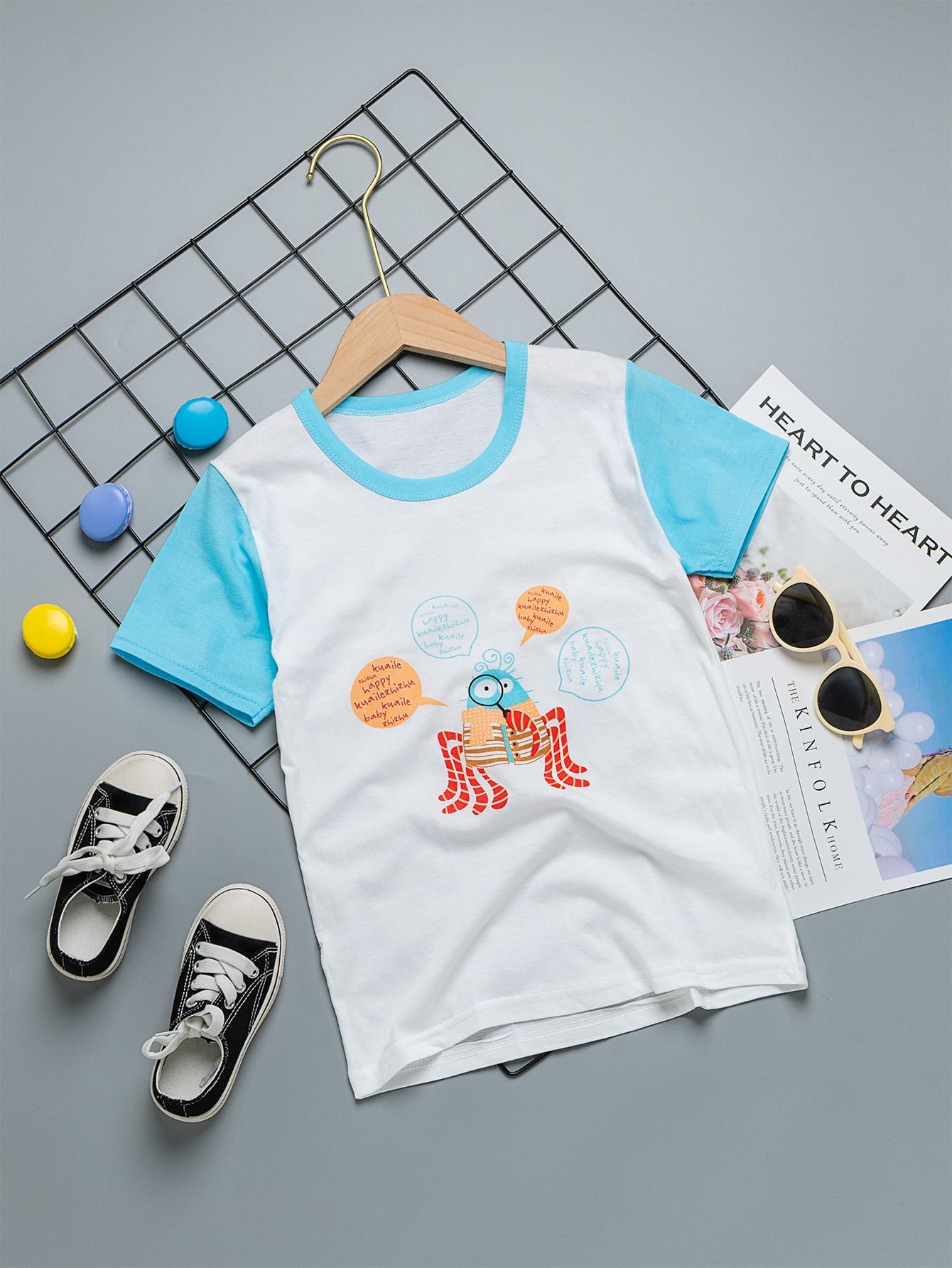 Футболка с текстовым принтом для мальчиковsktee03200504189