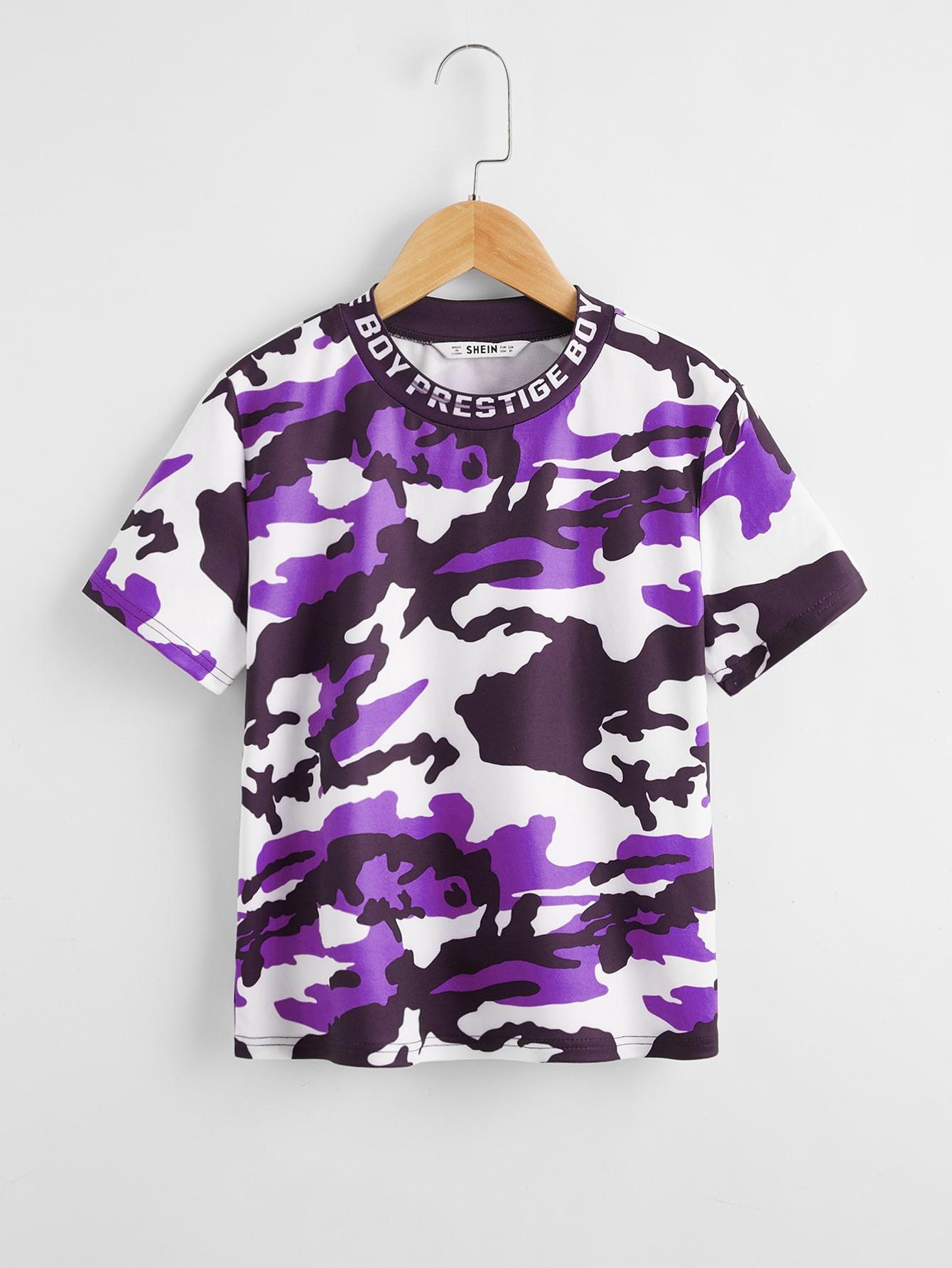 SHEIN Камуфляжная футболка для мальчиковsktee07200413755