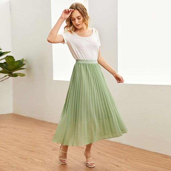 Elastic Waist Pleated Chiffon Skirt, Mint green