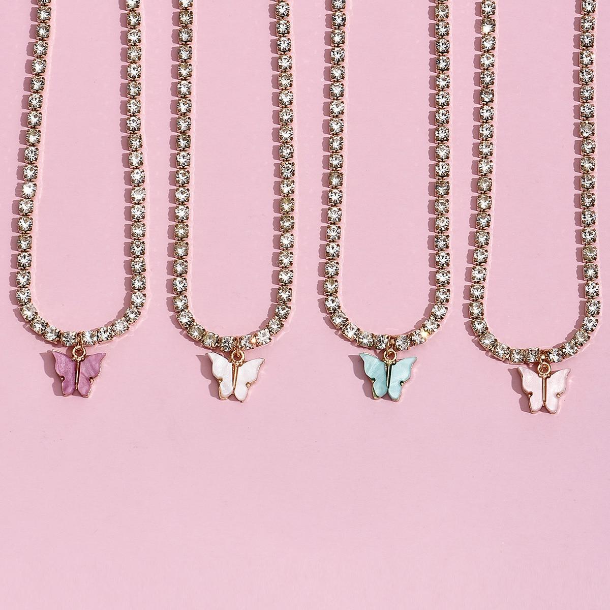 4 Stücke Halskette mit Strass und Schmetterling Anhänger