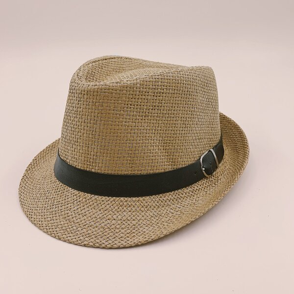 Toddler Kids Belt Decor Straw Hat, Coffee brown