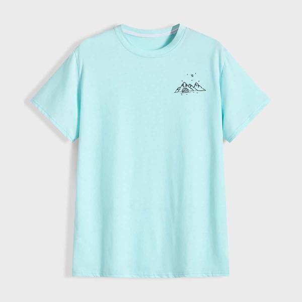 Men Graphic Print Short Sleeve Tee, Mint blue