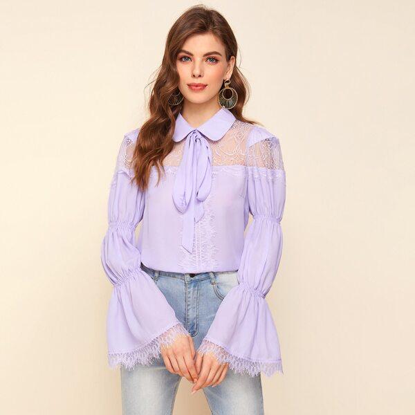 Flounce Sleeve Tie Neck Lace Yoke Top, Lilac purple