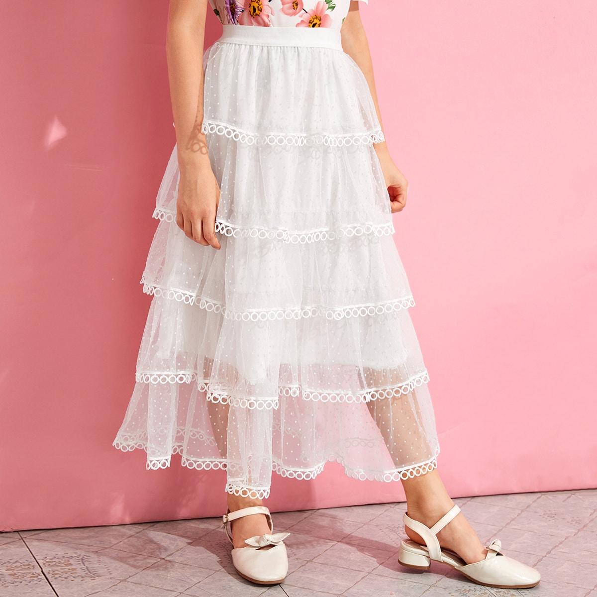 Многослойная сетчатая юбка с кружевной отделкой для девочек