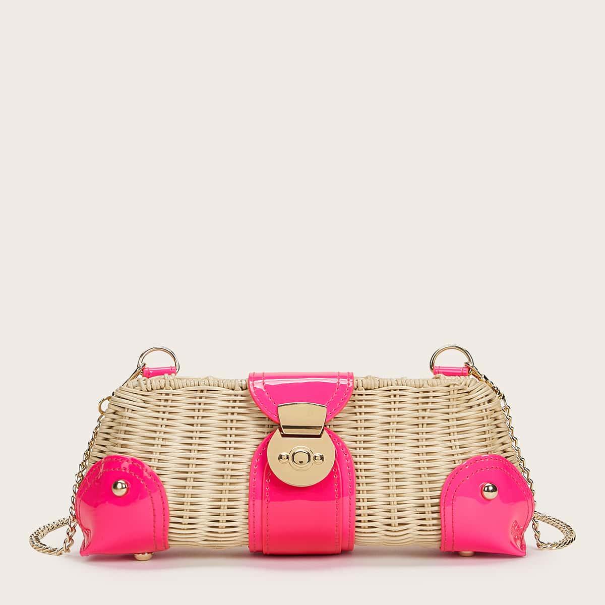 Плетеная сумка на цепочке