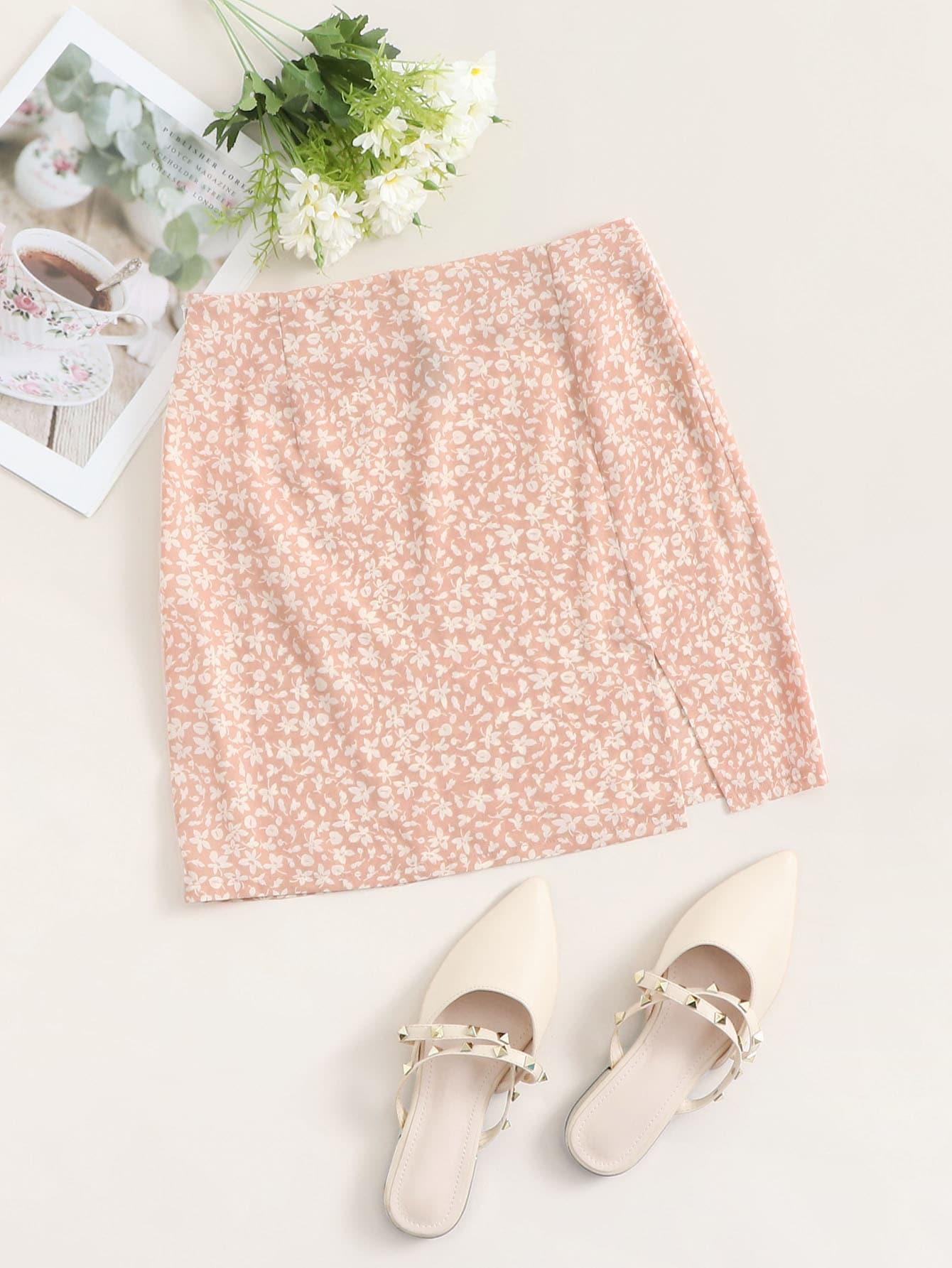 Split Hem Ditsy Floral Skirt thumbnail