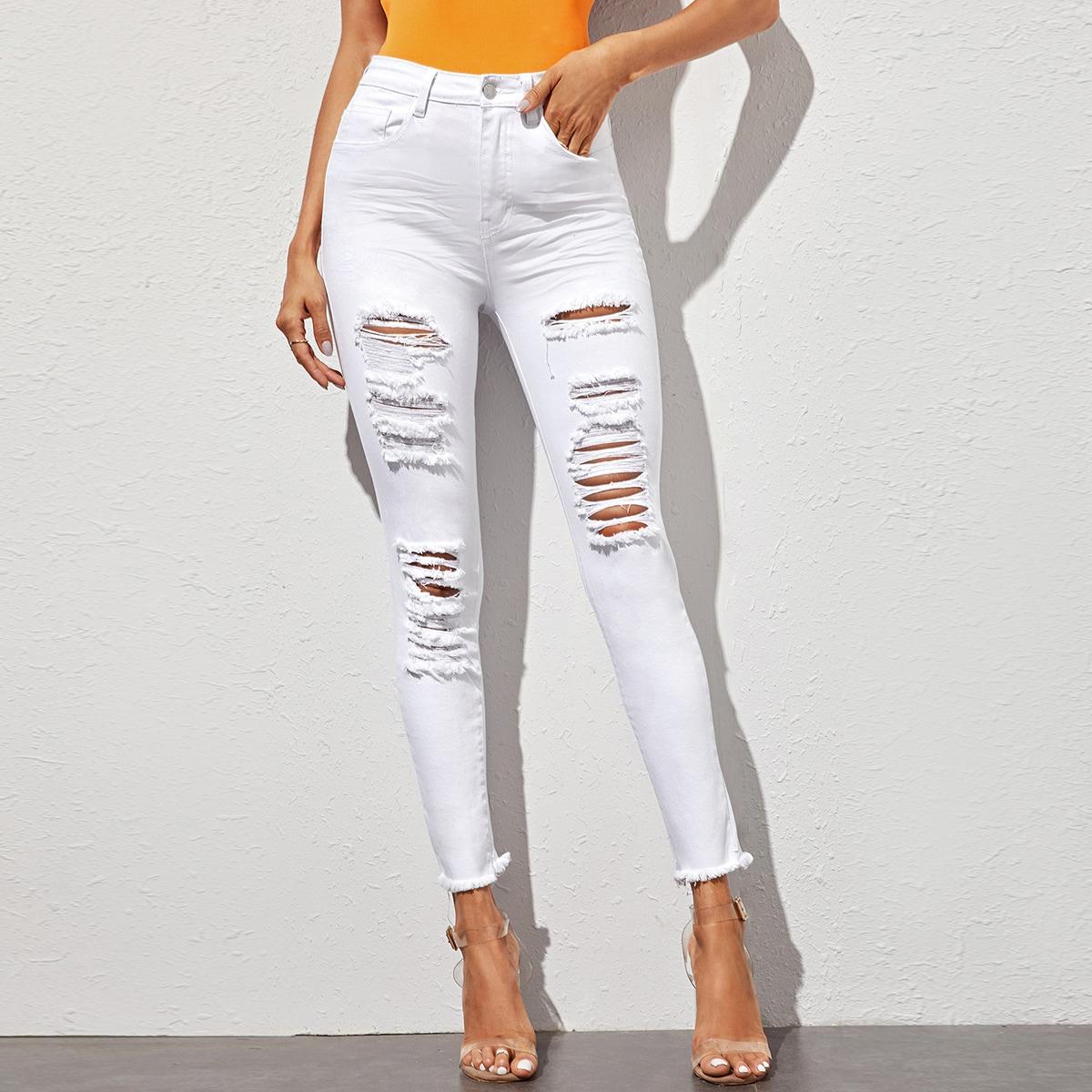 High-Waisted Distressed Raw Hem Skinny Jeans