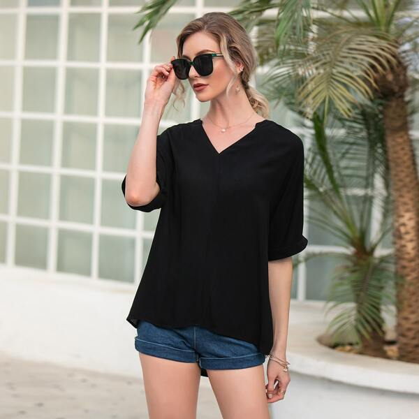 Solid Notched Neck High Low Hem Blouse, Black