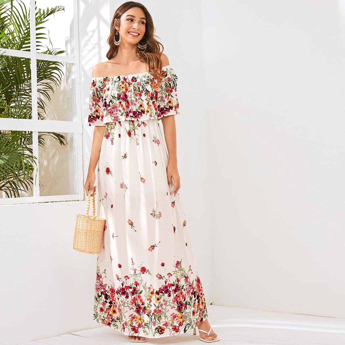 Цветочное платье макси с открытыми плечами