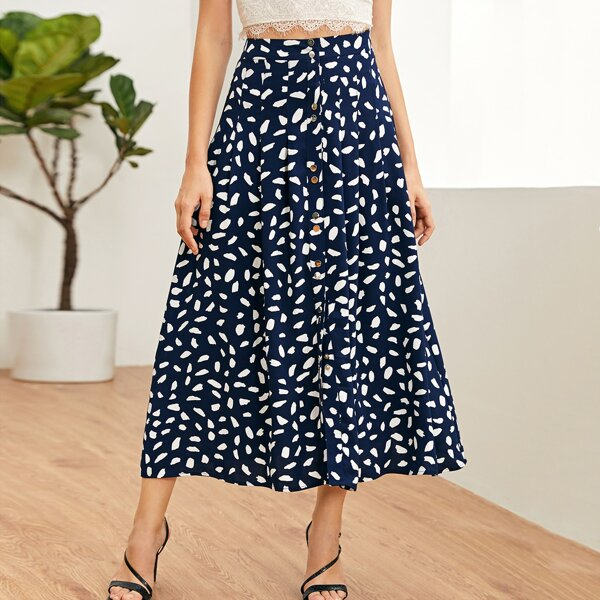Allover Print Button Front Pleated Skirt, Navy blue